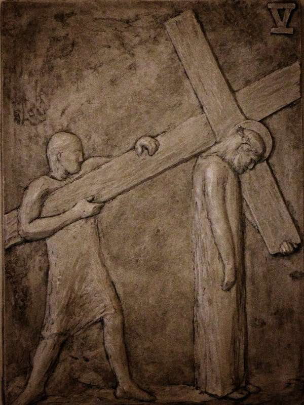 Fifth station: The cross is laid on Simon of Cyrene.